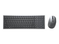 Dell Multi-Device Wireless Keyboard and Mouse Combo KM7120W - Sats med tangentbord och mus - trådlös - 2.4 GHz, Bluetooth 5.0 - hela norden - Titan gray - för XPS 13 9310 KM7120W-GY-PNN